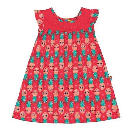 Vestido infantil abacaxi vermelho