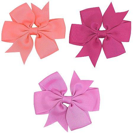 Kit 03 laços tons de rosa 2