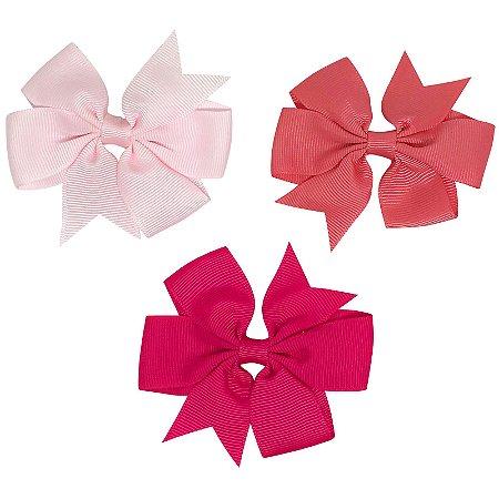 Kit 03 laços tons de rosa