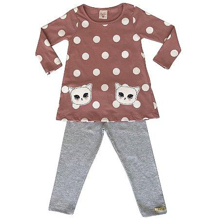 Conjunto infantil blusa e legging gato