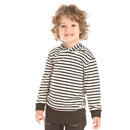 Camiseta infantil ML listras com capuz