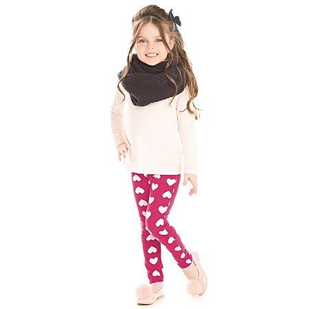Legging infantil pink corações