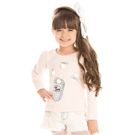Blusa infantil ML pop corn