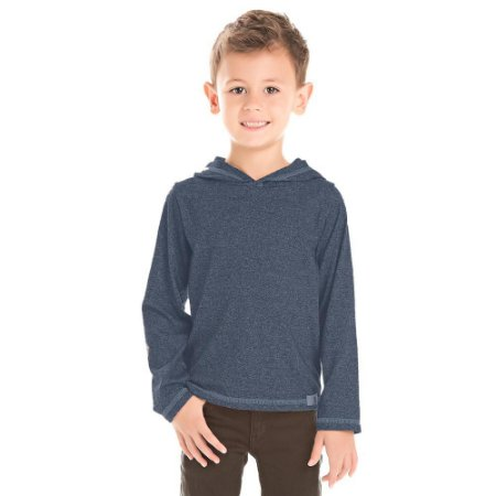 Camiseta infantil ML azul com capuz