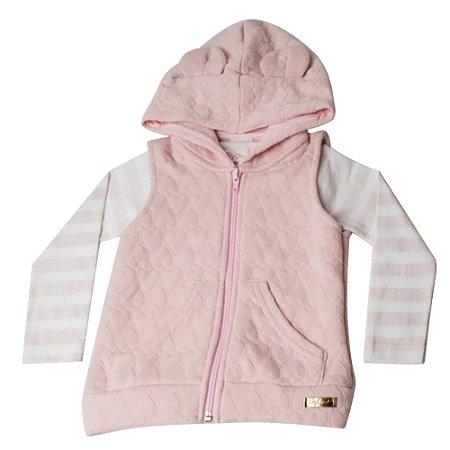 Colete e blusa infantil listrada rosa