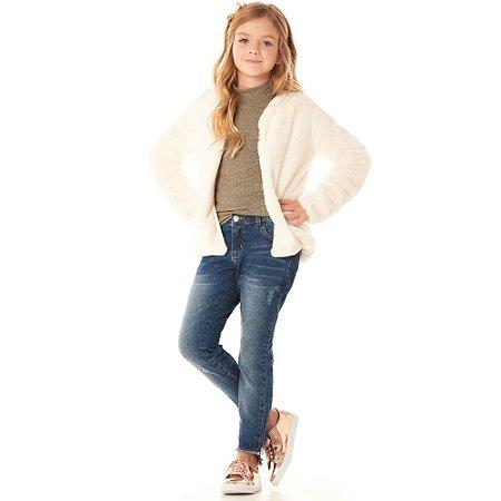 Calça infantil jeans skinny barra desfiada