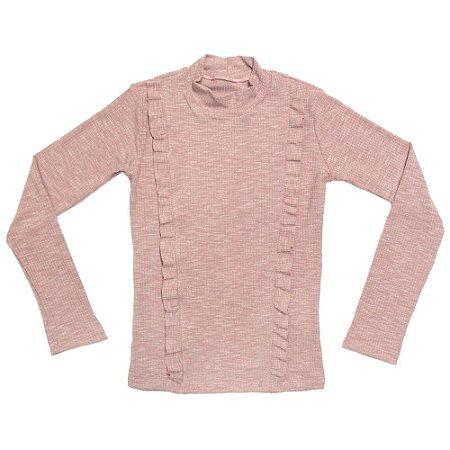 Blusa infantil ML ribana babado rosa