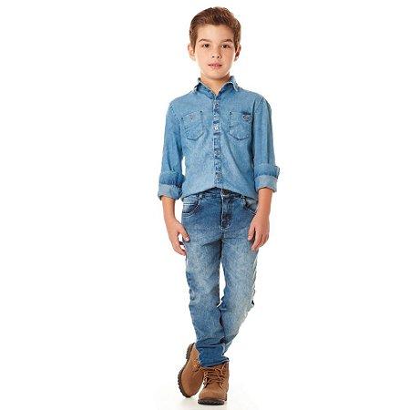 Calça infantil jeans slim marmorizada
