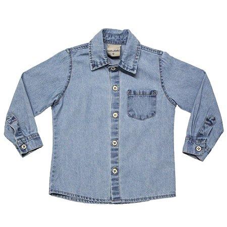 Camisa infantil ML jeans marmorizada