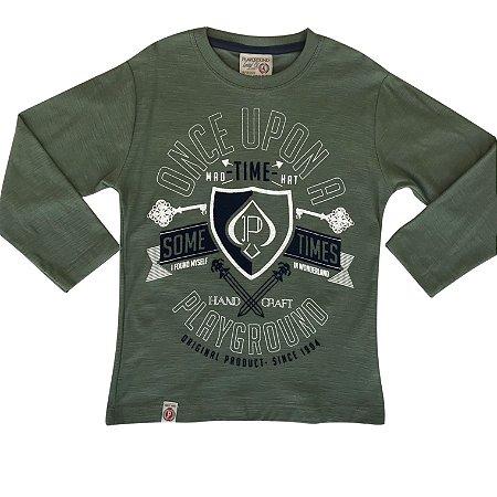Camiseta infantil ML sometimes verde militar