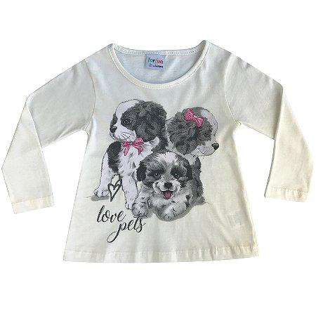 Blusa Infantil ML Dog's laço