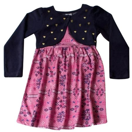 Vestido infantil ML rosa com bolero