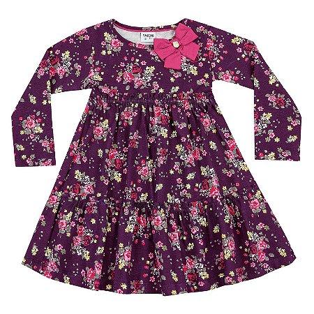 Vestido infantil ML floral ameixa