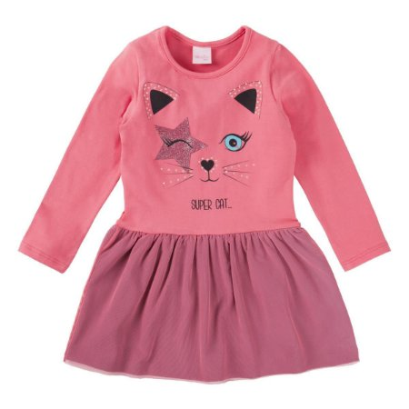 Vestido ML infantil gatinha glitter