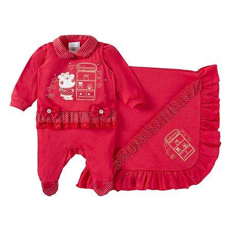 Saída de maternidade menina vermelho