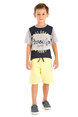 Conjunto camiseta e bermuda moletinho mescla/amarelo