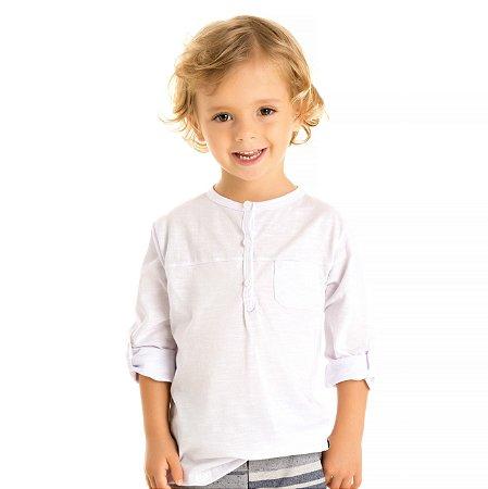 Camiseta meia malha flamê branca