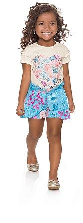 Conjunto blusa e short-saia borboletas Brandili