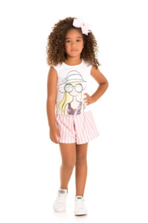 Conjunto menina blusa e short branco/listras