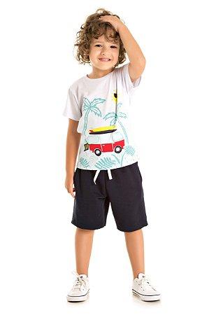 ee75e5c03d Conjunto Infantil Menino com Camiseta Branca e Bermuda Moletinho By ...