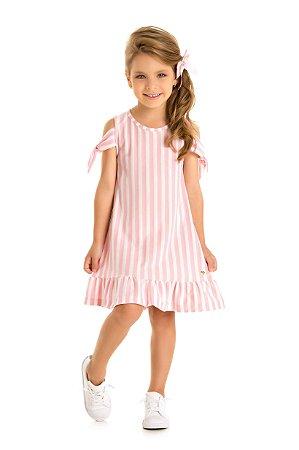 Vestido infantil listras rosa