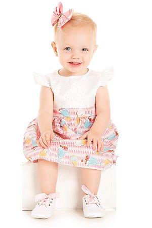 Vestido bebê menina sorvetes cetim
