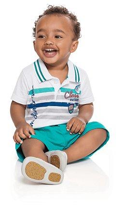 Conjunto bebê menino camiseta polo e bermuda sarja