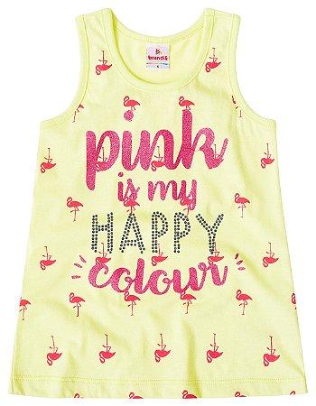 Regata infantil menina flamingos amarelo limão
