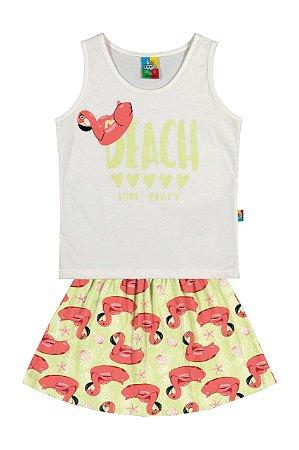 Conjunto menina blusa e saia flamingos