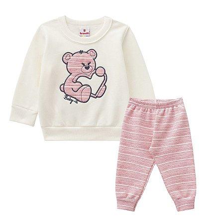 Conjunto moletom bebê menina urso coração marfim