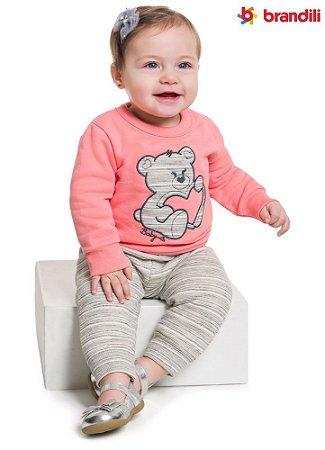 Conjunto moletom bebê menina urso coração