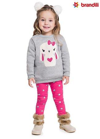 Conjunto infantil menina com legging molecotton peluciada