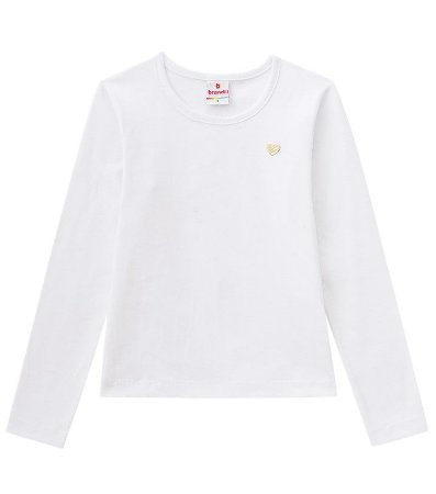 Camiseta infantil manga longa branca