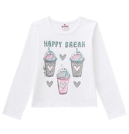Camiseta ML Menina Happy Break Branca