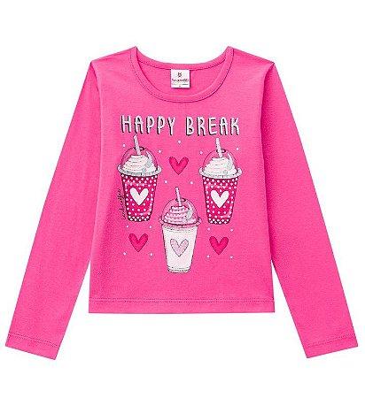 Camiseta ML Menina Happy Break Rosa