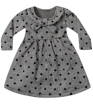 Vestido bebê ML jacquard xadrez e poá