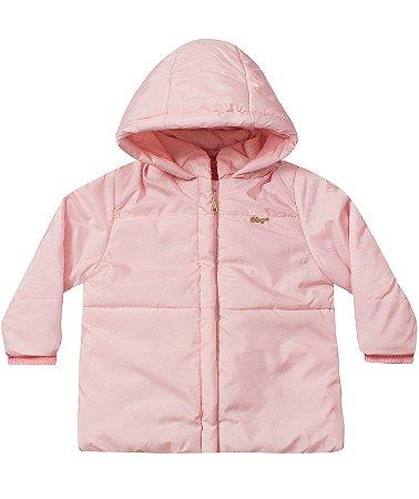 Jaqueta infantil feminina rosa com capuz