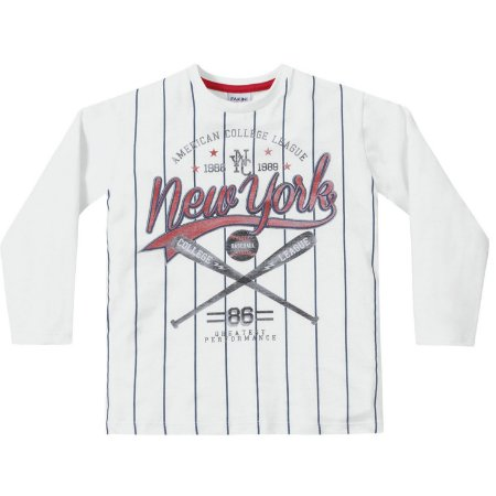 Camiseta ML menino branca baseball