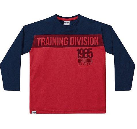 Camiseta ML menino vermelha e marinho