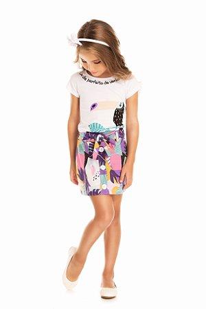 Conjunto infantil menina com saia
