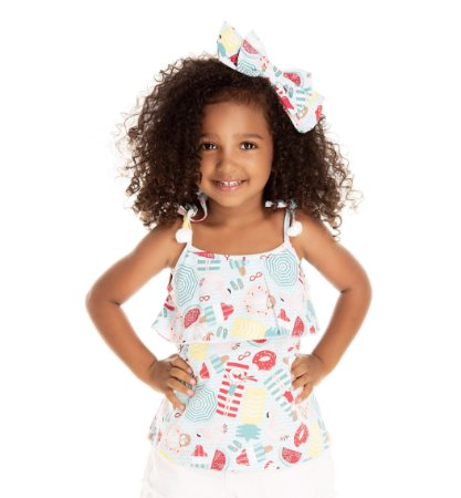 Regata infantil menina com laço pompom