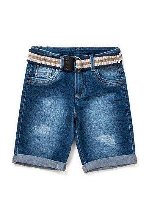 Bermuda infantil masculina jeans com cinto