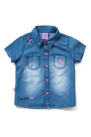 Camisa infantil jeans feminina cute