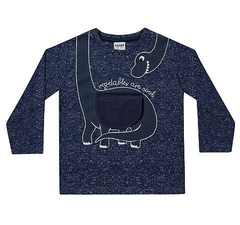 Camiseta infantil manga longa dinossauro