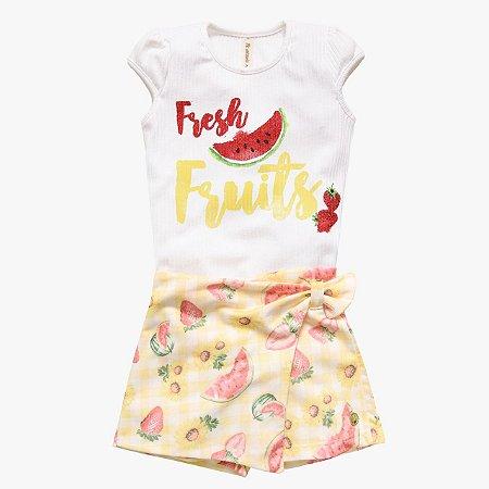 Conjunto infantil feminino verão frutas