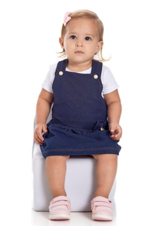 Jardineira salopete bebê menina