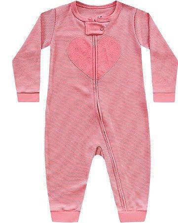 Macacão manga longa bebê menina coração rosa