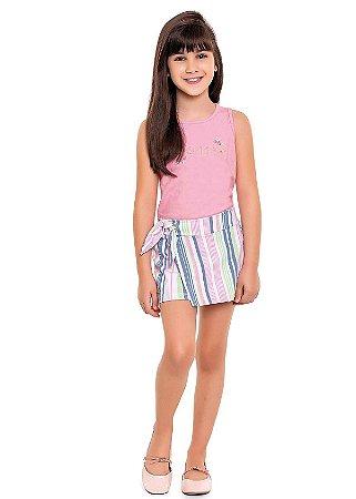 Conjunto infantil menina regata e short saia