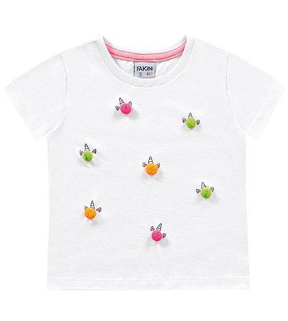 Blusa infantil feminina mini pompons