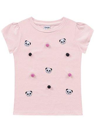 Blusa infantil feminina rosa panda